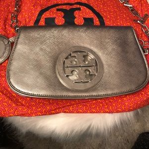 Tory Burch metallic clutch with detachable strap